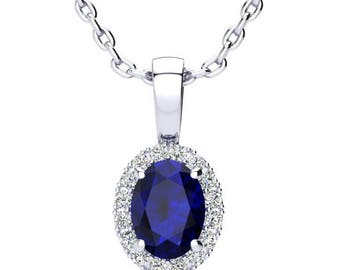 White Gold 1 CT Oval Sapphire And Halo Diamond Necklace- Available in 14K OR 10K