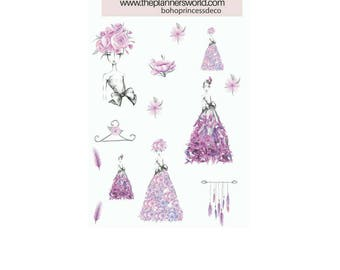Boho Princess Mini Deco Sheet - planner stickers - fashion girl - floral stickers - decorative stickers - deco stickers