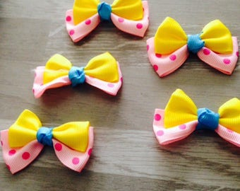 5 flower applique yellow blue pink grosgrain ribbon bow has polka dots
