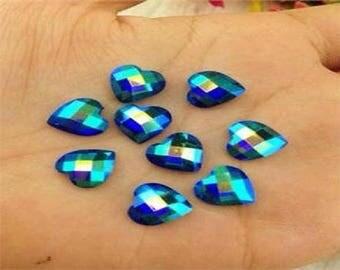 Set of 25 rhinestone cabochon black embossed blue heart