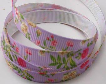 Ribbon GROSGRAIN sold by the yard purple pattern flower 10mm
