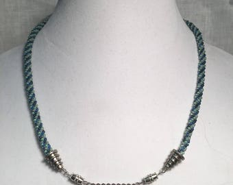 Blue hand beaded necklace