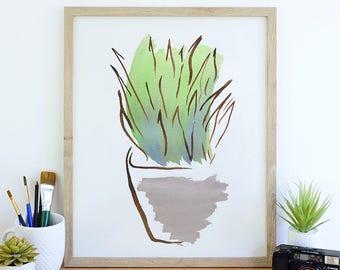 Agave Art Print, Succulent Wall Art Print, Plant Illustration, Desert Art, Garden Art, Cactus Art Print, Gardener Gift, Botanical Art