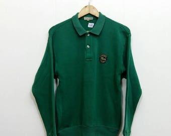CHEMISE LACOSTE Sweatshirt Medium Vintage 80's Lacoste Spotswear  Sweater Pullover Lacoste Green Jumper Size M