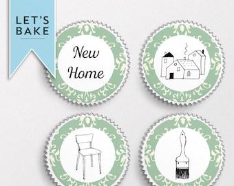 House warming,cupcake topper,house warming cupcake topper,new home cupcake,digital download