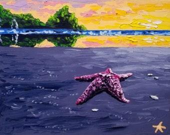 Marine life painting - canvas painting animal - oil painting sunset - by Ryan Kimba
