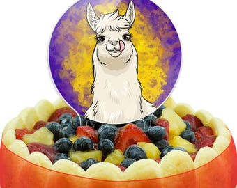 Llama Sticking Out Tongue Cake Top Topper