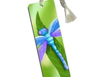 Watercolorful Dragonfly Printed Bookmark With Tassel