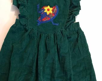 Green Corduroy Pinafore Dress