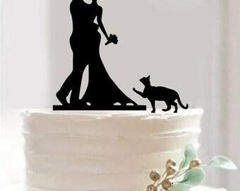 "Romantic Kiss  5.5""X 4"" Black Acrylic Flat Bride Groom Figurine Wedding Cake Topper"