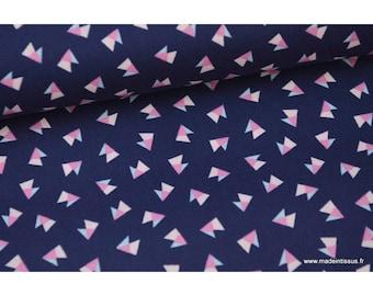 Popeline coton imprimé TRIANGLES rose et ciel fond bleu marine .x1m