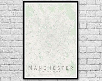 MANCHESTER, United Kingdom City Street Map Print | Wall Art Poster | Wall decor | A3 A2