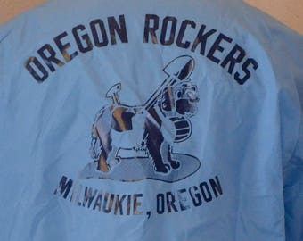 Vintage Oregon Rockers Jacket Windbreaker 1970's Blue 100% Nylon L Large
