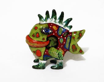 Ceramic sculpture fish, colorful small fish, Exotic fish, fishing gifts for men