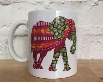 Orange Elephant Mug, African fabric elephant mug, Birthday gift, Orange mug, Green mug, UK free shipping