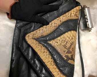 Leather snake skin trim