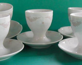 Vintage Kaiser Egg Cups Porcelain Eggcup Set of 5
