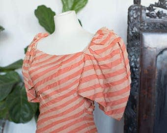 Stunning Sherbert Striped Gown with Detachable Train