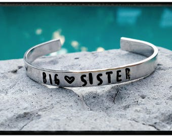 Big Sister • Little Sister Cuff Bracelet - Toddler//Youth Cuff - Hand Stamped/Choose Symbols/Customizing Options -New Sibling/Child Bracelet