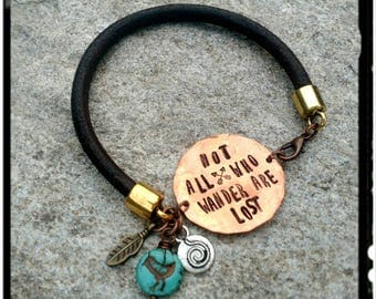 Not all who Wander are Lost - Copper - Hand Stamped Copper//Chocolate Leather Bracelet - Turquoise Bead/Feather - Mixed Metal - Boho/Gypsy