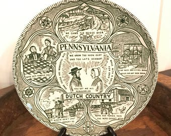 Vintage Green Pennsylvania Dutch Country 9 & 1/2 Inch Serving or Dinner Plate with Amish Scenes