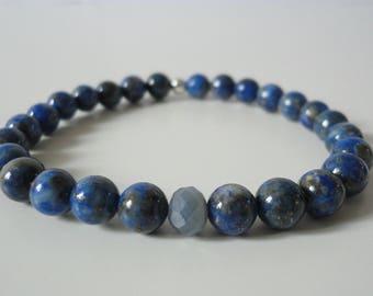 SERENITY - Lapis Lazuli and Saphir Gemstone Beads Bracelet, 6mm Beads, Natural Gemstones, Silver Bead, Yoga and Healing Jewelry