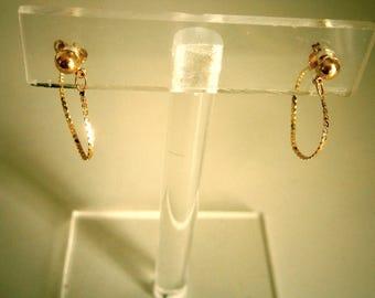 14K Yellow Gold Chain Stud Post Earrings