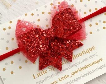 Red glitter bow, baby bow, girls hair bow, Christmas bow, fairy bow