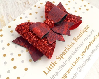 Red glitter bow, glitter bow, baby bow, girls hair accessories