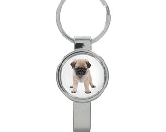 Pug Puppy Image Cap Remover Keyring Boxed