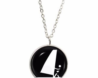 Olympic Windsurfing Pendant and Silver Plated Necklace