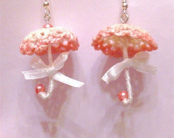 Earrings with crochet umbrellas