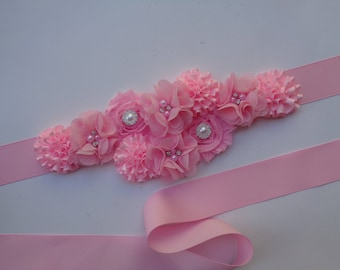 Pink Maternity Sash, Baby Girl Maternity Belly Sash, Pregnancy Belt, It's a Girl, Girl Baby Shower, Maternity Flower Belt