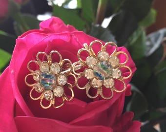 Gorgeous Vintage AB Screw Hoop Flower Earrings on Gold Metal