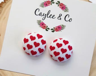 Red and White Heart Button Earrings RTS