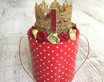 Gold lace crown, Gold and Red crown headband