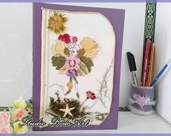 Flower girl cards. Mystic birthday card. Little girl birthday. Flower fairy. Girl room wall art. Mystic fairires. Flower fairy decor.
