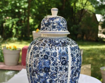 """14 1/2"""" Hand painted Butterfly, Fruit and Floral Delft Urn/Ginger Jar 1960"""