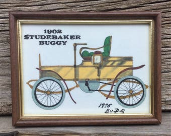 Antique Framed 1902 Studebaker Buggy Hand Painted, Interpretation to Clarence P. Harming Prints