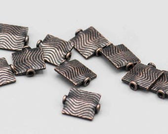 Antique Copper Wavey Striped Rectangle Bead 13x11mm 10 Beads SKU-FMB-4
