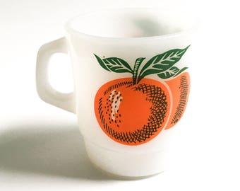 Retro Termocrisa Mug, Orange Mug, Milkglass Mug, Orange Mug, 1970 Mug, Collector Mug
