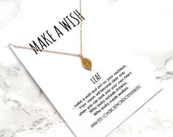 Leaf minimalist necklace, gold chain simple necklace, wish necklace, sister gift, friendship jewelry, minimalist jewelry, gift for her