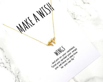 Wings wish necklace, angel minimalist necklace, dainty delicate valentines necklace gift, wish jewelry, simple everyday chain necklace