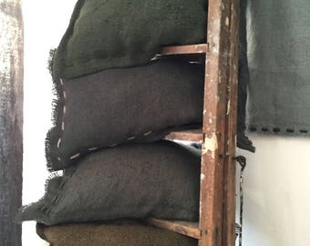 charcoal gray burlap cushion