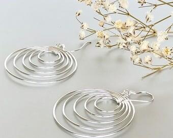 Silver Spiral Dangle Earrings, Silver Earrings, Silver Ear Accessories, Bohemian Jewelry, Funky Earrings, Gift Earrings, (SES190)