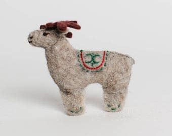 Reindeer Ornament, Felt Reindeer Ornament, Petroglyph Reindeer, Christmas Reindeer Ornament, Holidays Decoration, Fair Trade Reindeer Toy