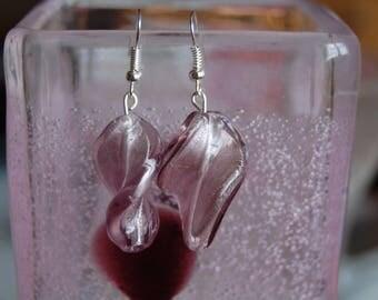 leaves earrings pink glass