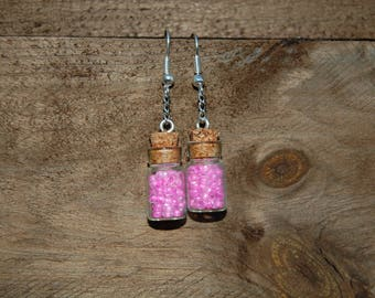 glass bottle and seed beads earrings