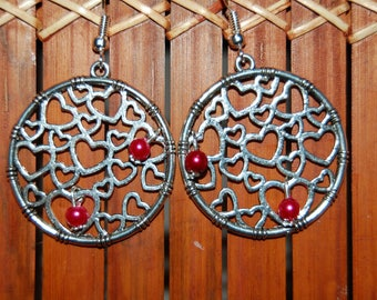 original round earrings with heart