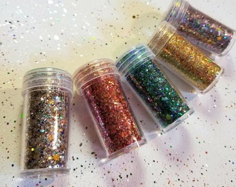 Colorful Glitter 5 Pack LOWEST PRICE!! Red glitter/Blue green glitter/ Rainbow Glitter/Holographic gold Glitter/Technicolor glitter